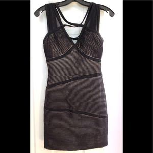 BCBG black dress with nude underlay